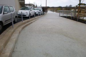 PVT - projet des quais de Libourne, Agence TER et BET Edanlo, bordure 25x28 double chanfrein 1x1, travertion spécial bordure 2